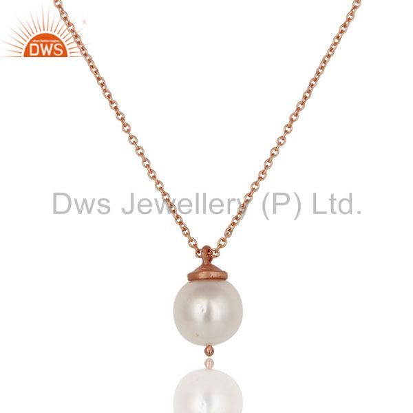 18K Rose Gold Plated Sterling Silver White Pearl Designer Pendant With Chain