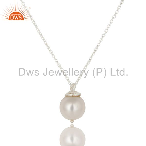 925 Sterling Silver White Pearl Designer Pendant With Chain Necklace