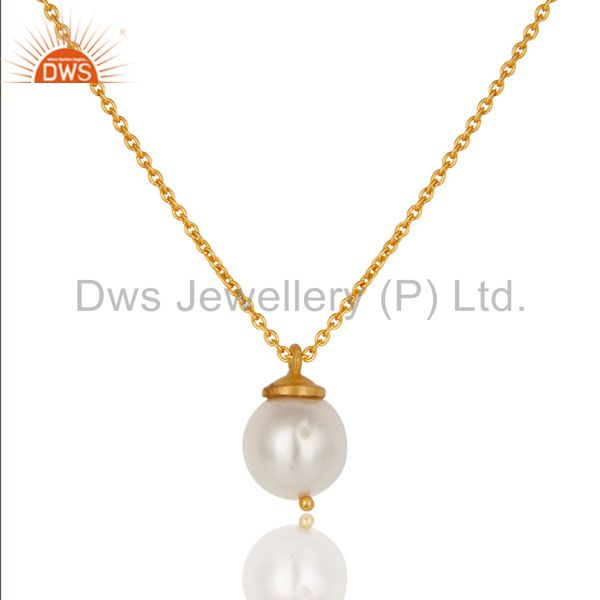 18K Yellow Gold Plated Sterling Silver White Pearl Designer Pendant With Chain