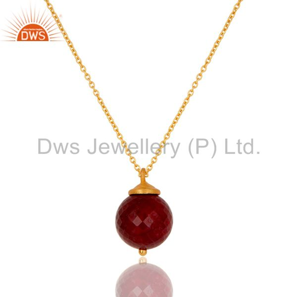 18K Gold Plated Sterling Silver Natural Ruby Designer Pendant With Chain