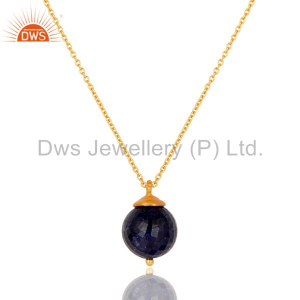 18K Gold Plated Sterling Silver Natural Sapphire Designer Pendant With Chain