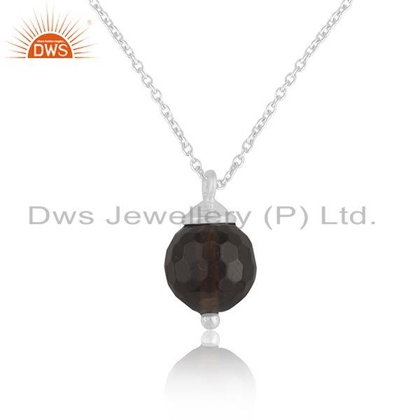 Smoky quartz gemstone 925 sterling silver chain pendant manufacturer india