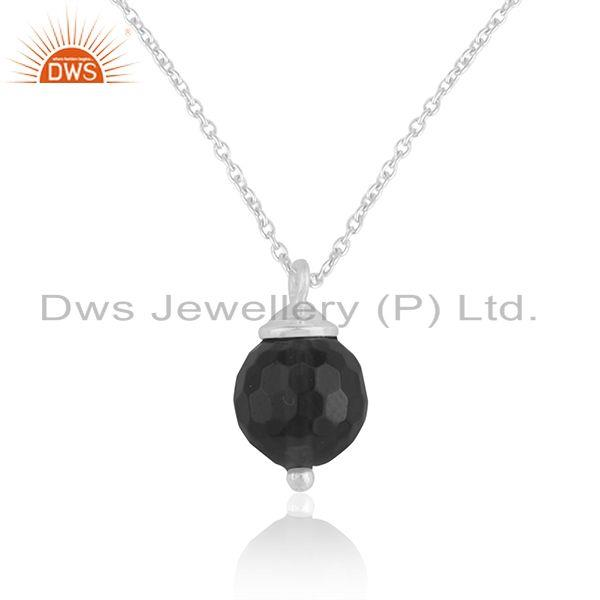 Designer 925 Sterling Silver Black Onyx Gemstone Ball Pendant Manufacturer India