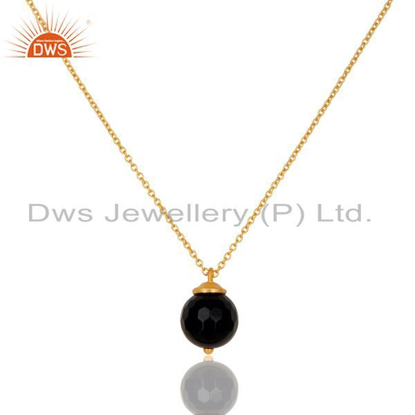 18k gold plated 925 sterling silver faceted black onyx chain pendant necklace