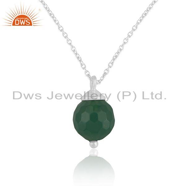Ball design 925 sterling silver green onyx gemstone chain pendant manufacturer
