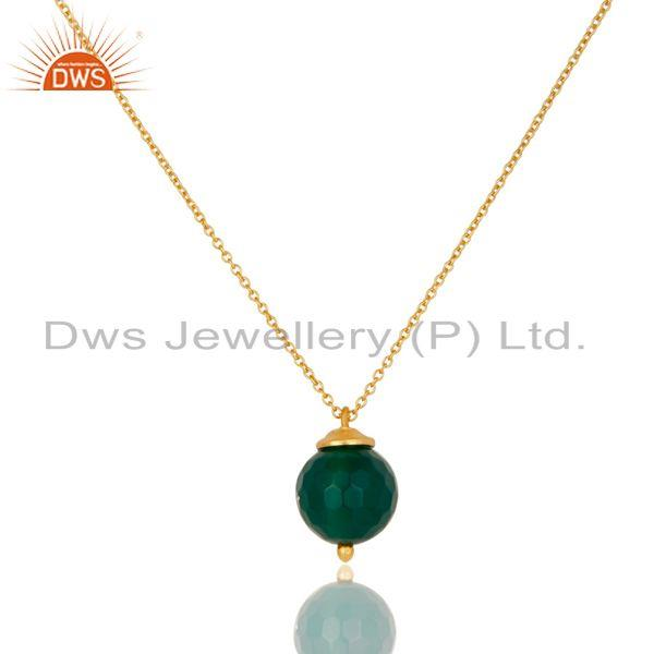 18K Gold Plated 925 Sterling Silver Faceted Green Onyx Chain Pendant Necklace
