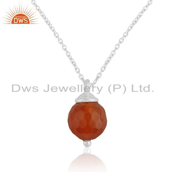 Natural Red Onyx Gemstone Sterling Silver Chain Pendant Jewelry