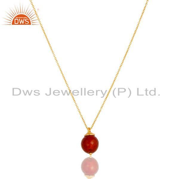 18K Gold Plated 925 Sterling Silver Faceted Red Onyx Chain Pendant Necklace