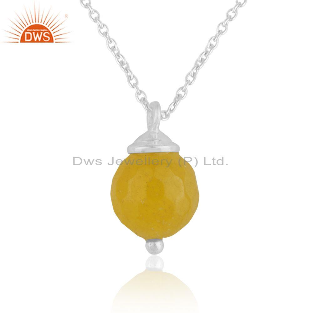 Yellow Chalcedony Gemstone 925 Silver Chain Pendant Manufacturer India
