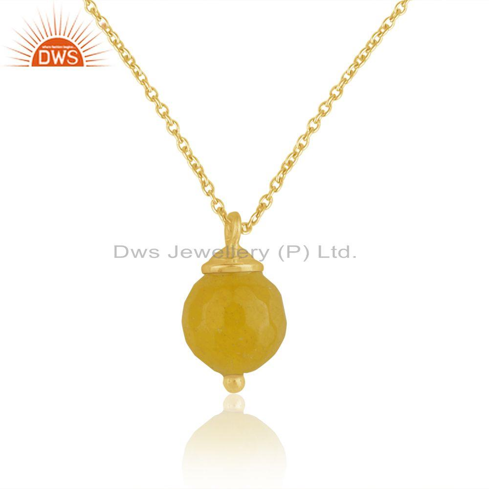 Yellow Chalcedony Gemstone 925 Silver Gold Plated Chain Pendant Manufacturer