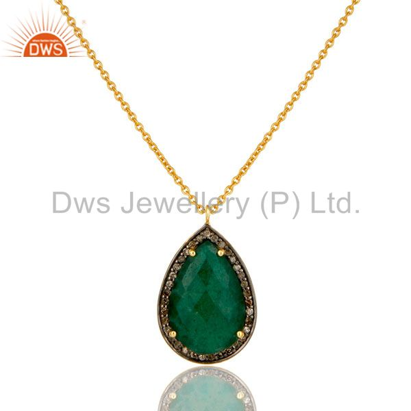 18K Yellow Gold Plated Sterling Silver Pave Diamond Emerald Pendant Necklace
