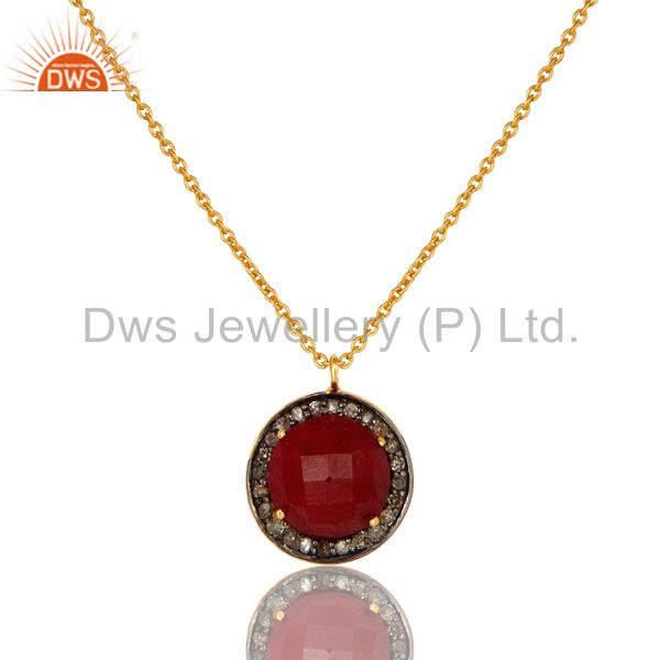 18K Yellow Gold Plated Sterling Silver Pave Diamond And Ruby Pendant Necklace