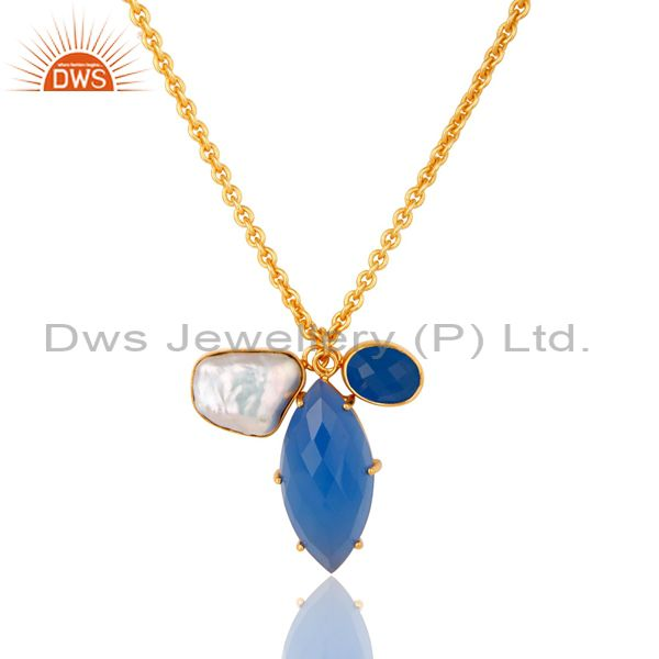 Blue Chalcedony and Pearl Bezel and Prong Set Handmade 18k Gold Plated Necklace