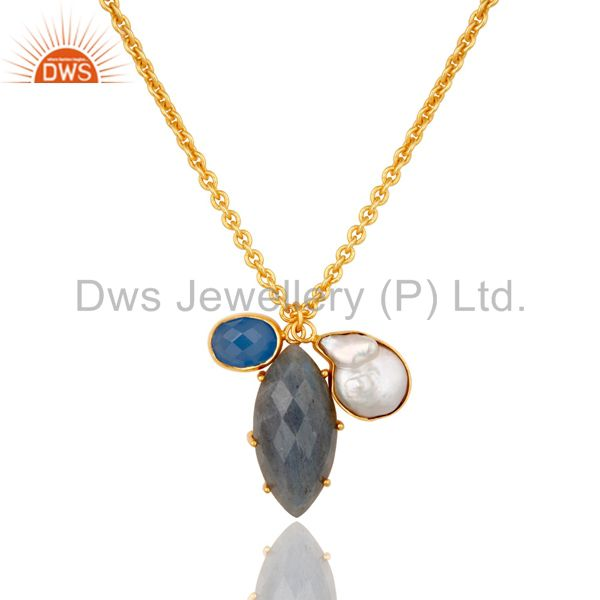 Blue Chalcedony Pearl and Labradorite Handmade 18k Gold Plated Necklace