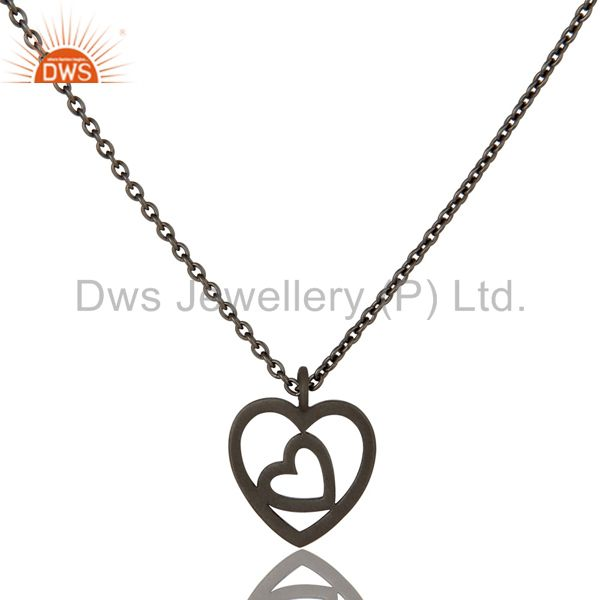 Black Oxidized Double Heart Sterling Silver Pendant Necklace with Chain