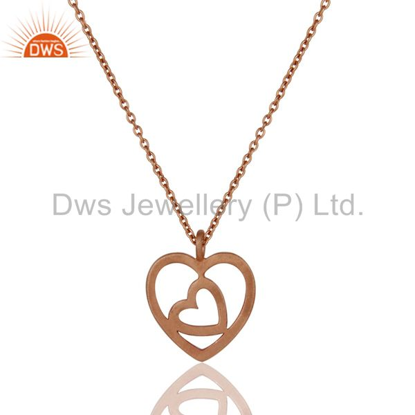 Rose Gold Plated Double Heart Sterling Silver Pendant Necklace With Chain