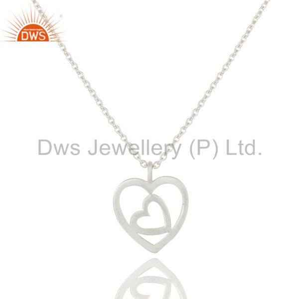 Double Heart Solid Sterling Silver Pendant Necklace With Chain