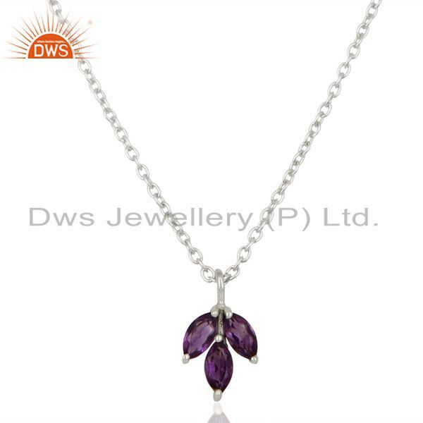 Amethyst leaf finn 925 sterling silver plated chain pendant necklace