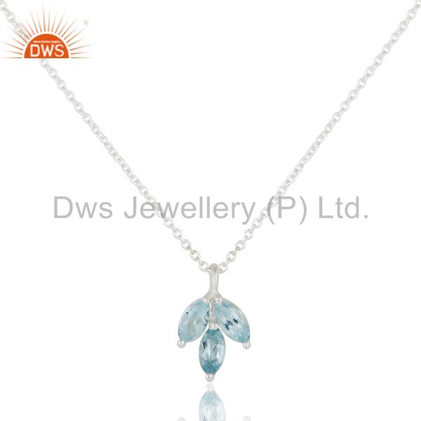 Blue Topaz Leaf Finn 925 Sterling Silver Silver Plated Chain Pendant Necklace