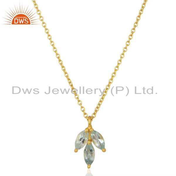 Blue Topaz Leaf Finn 925 Sterling Silver 18k Gold Plated Chain Pendant Necklace