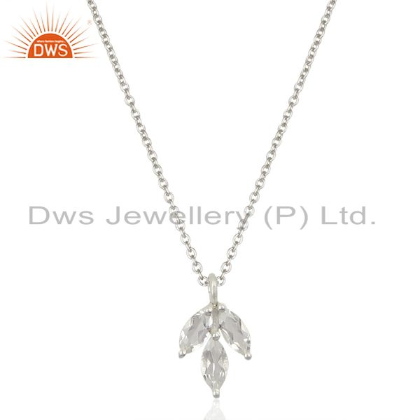 Crystal Quartz 925 Sterling Silver Chain Pendant Necklace Gemstone Jewelry