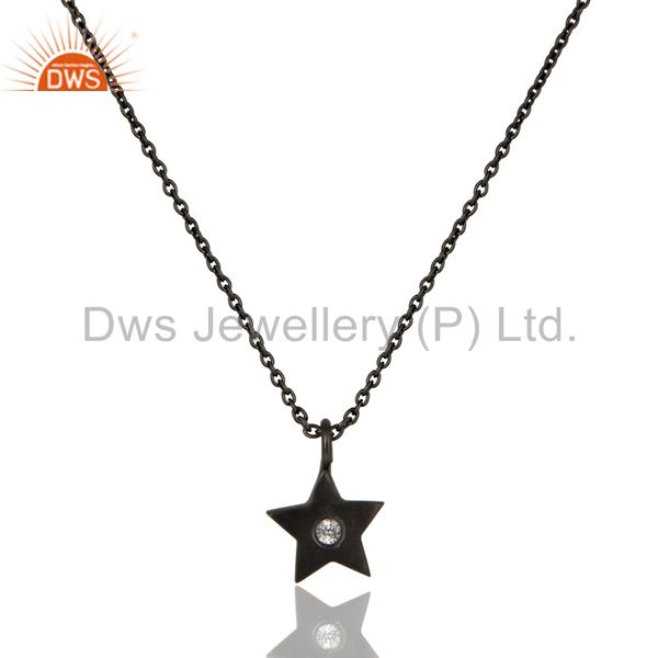 Black oxidized sterling silver star design white topaz pendant with chain