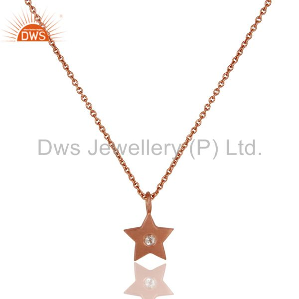 18k Rose Gold Plated Sterling Silver Star Design White Topaz Pendant with Chain