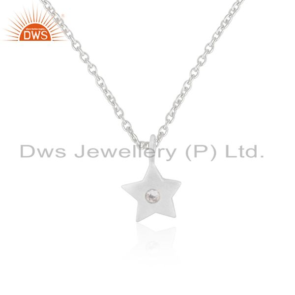 Solid Sterling Silver Handmade Star Design White Topaz Pendant with Chain