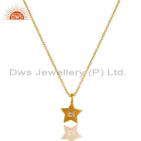 18k yellow gold plated sterling silver star design pendant with chain