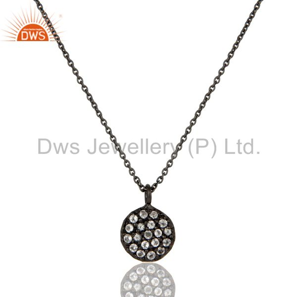 Fashion round single white topaz pendant with black oxidized sterling silver