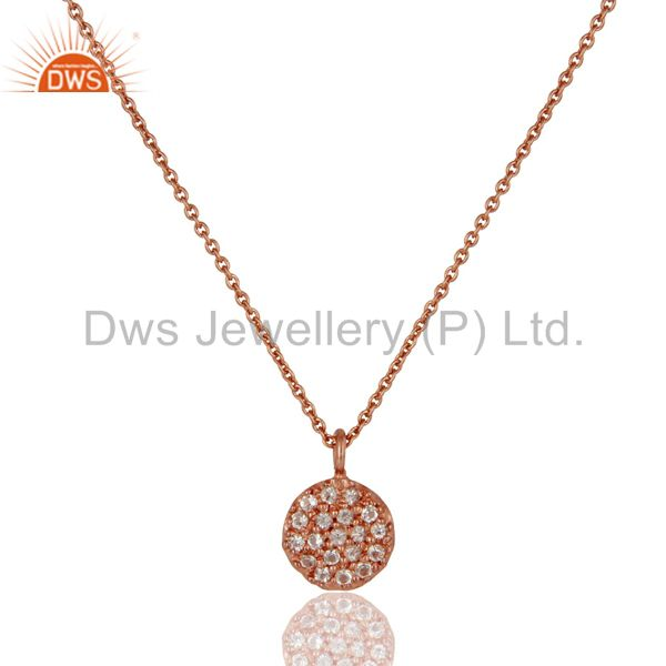 Round Single White Topaz Chain Pendant With 18k Rose Gold Plated Sterling Silver