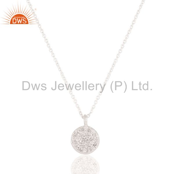 Round Single White Topaz Chain Pendant With Solid 925 Sterling Silver