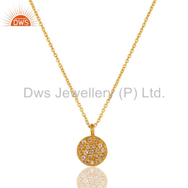 Fashion Round Single White Topaz Pendant With 18k Gold Plated Sterling Silver