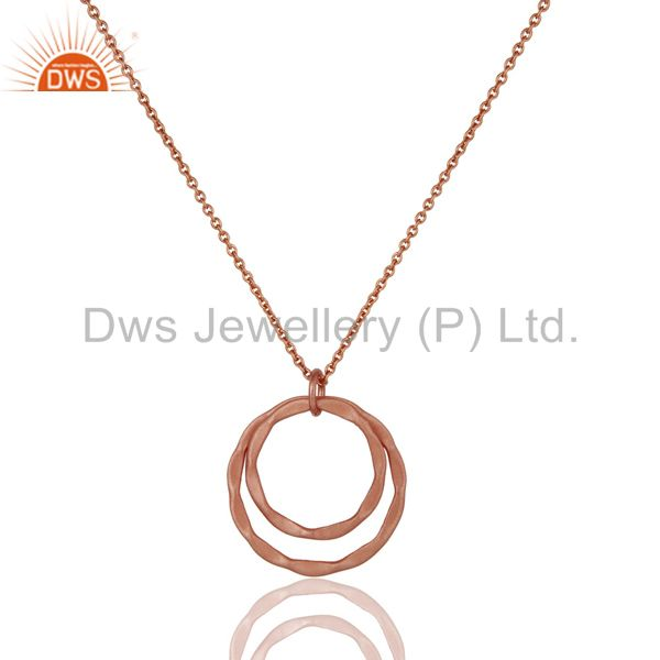 18k Rose Gold Plated 925 Sterling Silver Classic Double Round Pendant With Chain
