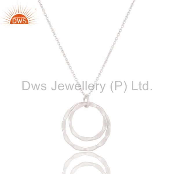 Lovely solid 925 sterling silver classic double round pendant with chain
