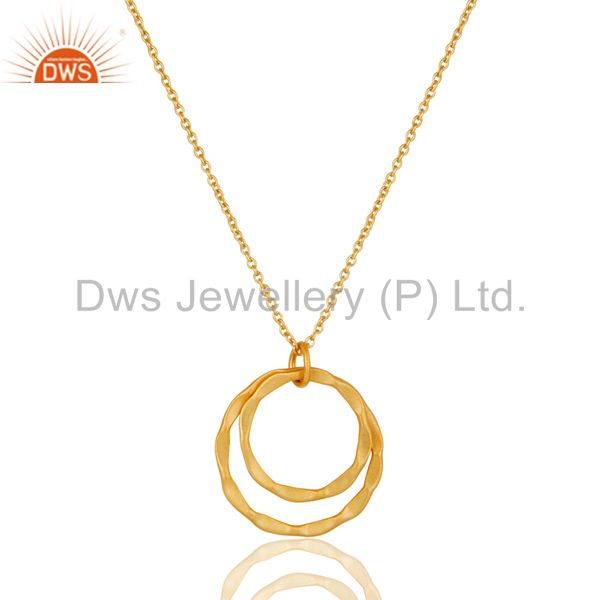 18k gold plated 925 sterling silver classic double round pendant with chain