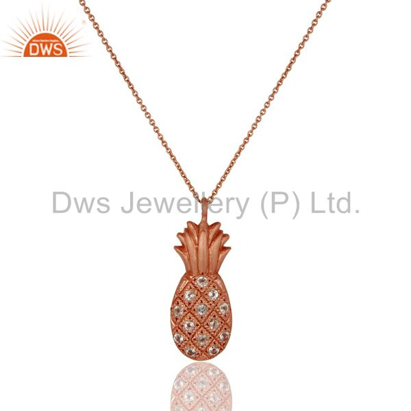 18k rose gold plated sterling silver pineapple design chain pendant with topaz