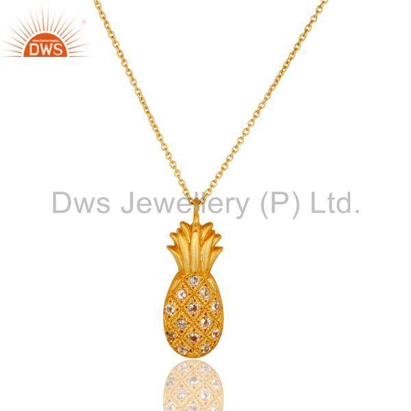 18k yellow gold plated sterling silver pineapple design chain pendant with topaz