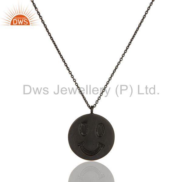 Handmade Black Oxidized Sterling Silver Face Carving Pendant with Chain
