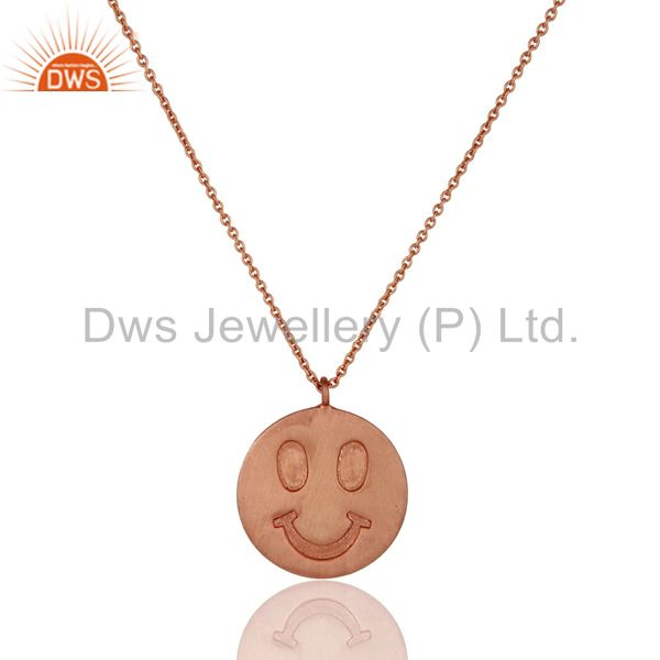 18k rose gold plated sterling silver face carving pendant with chain