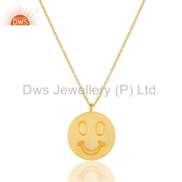 18k yellow gold plated sterling silver face carving pendant with chain