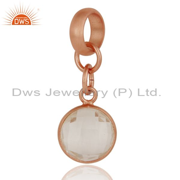 18k Rose Gold Plated Sterling Silver Fine Setting Crystal Pendent Finding