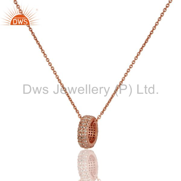 18k Rose Gold Plated Sterling Silver Fashion Charming White Topaz Chain Pendant