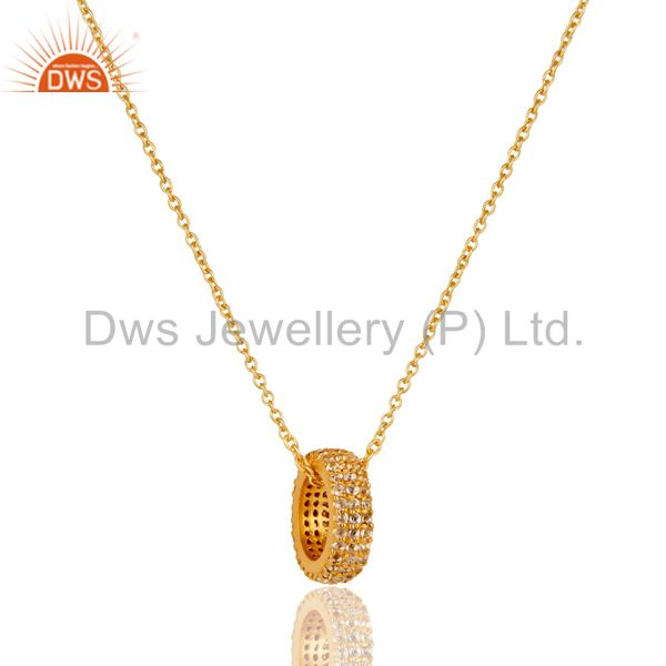 18k yellow gold plated sterling silver fashion white topaz chain pendant