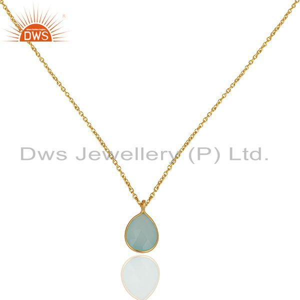 Aqua Chalcedony Gemstone Gold Plated 925 Silver Chain Pendant Jewelry