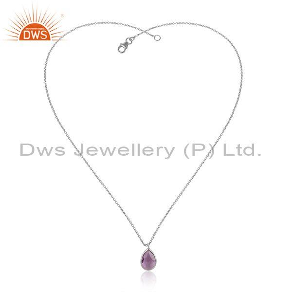 Handcrafted Sterling Silver 925 Amethyst Pendant Necklace