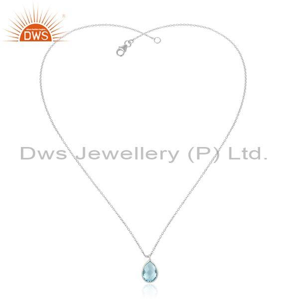 Handcrafted sterling silver 925 blue topaz pendant necklace
