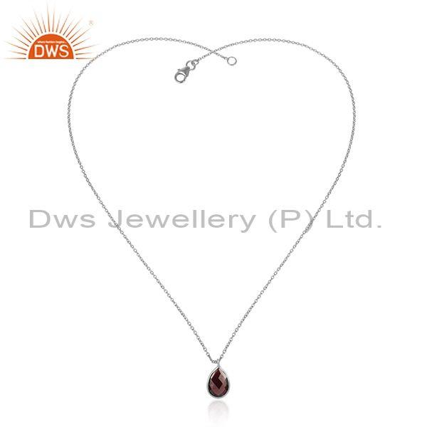 Handcrafted Sterling Silver 925 Garnet Pendant Necklace