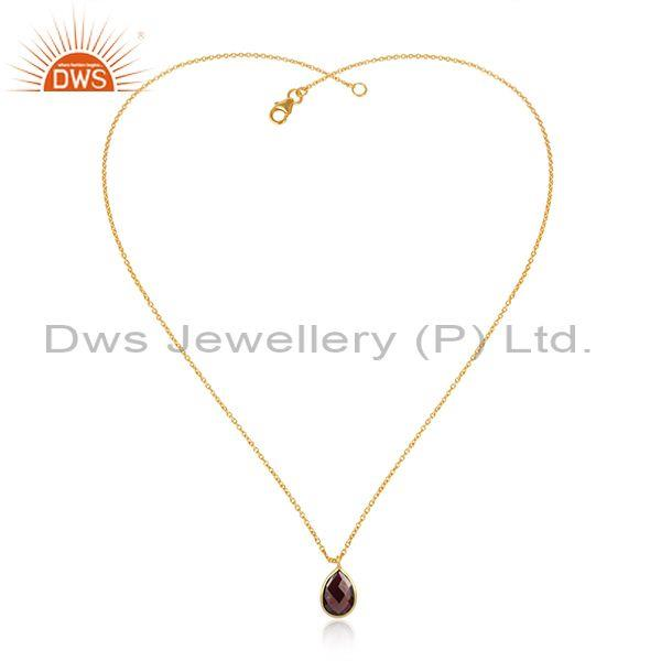Handcrafted Gold on Silver 925 Garnet Pendant Necklace