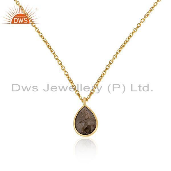 Gold plated 925 silver labradorite gemstone simple pendant jewelry manufacturers